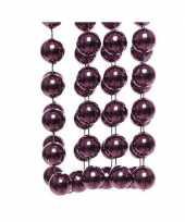 Feestversiering kralen slinger aubergine paars sterretjes 270 cm kunststof plastic kerstversiering 10137544