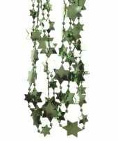 Feestversiering kralen slinger donkergroen sterretjes 270 cm kunststof plastic kerstversiering
