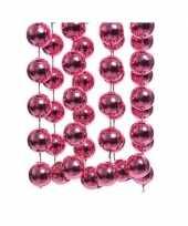 Feestversiering kralen slinger fuchsia roze sterretjes 270 cm kunststof plastic kerstversiering 10137535