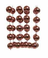 Feestversiering kralen slinger mahonie bruin sterretjes 270 cm kunststof plastic kerstversiering