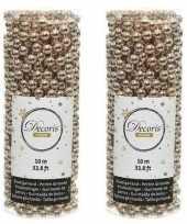 Feestversiering kralen slingers donker parel champagne 10 meter kunststof plastic kerstversiering 2 stuks