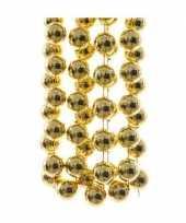 Feestversiering kralen slingers goud sterretjes 270 cm kunststof plastic kerstversiering 2 stuks