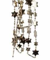 Feestversiering kralen slingers kasjmier bruin sterretjes 270 cm kunststof plastic kerstversiering 2 stuks