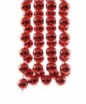 Feestversiering kralen slingers kerst rode sterretjes 270 cm kunststof plastic kerstversiering 2 stuks