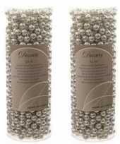 Feestversiering kralen slingers zilver 10 meter kunststof plastic kerstversiering 2 stuks