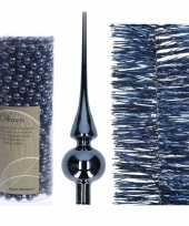 Kerstboom optuigen set donkerblauw glazen piek 1x kralenslinger 1x folieslinger