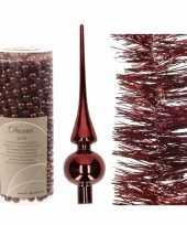 Kerstboom optuigen set donkerrood glazen piek 1x kralenslinger 1x folieslinger