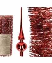 Kerstboom optuigen set rood glazen piek 1x kralenslinger 1x folieslinger