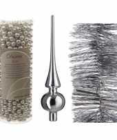 Kerstboom optuigen set zilver glazen piek 1x kralenslinger 1x folieslinger