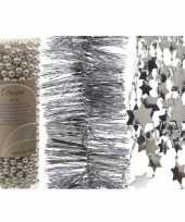 Kerstboom slingers 3 stuks zilver