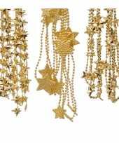 Kerstboomversiering 6x gouden kralenslingers met sterretjes 270 cm
