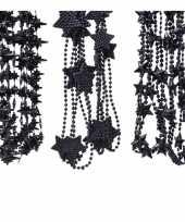 Kerstboomversiering 6x zwarte kralenslingers met sterretjes 270 cm